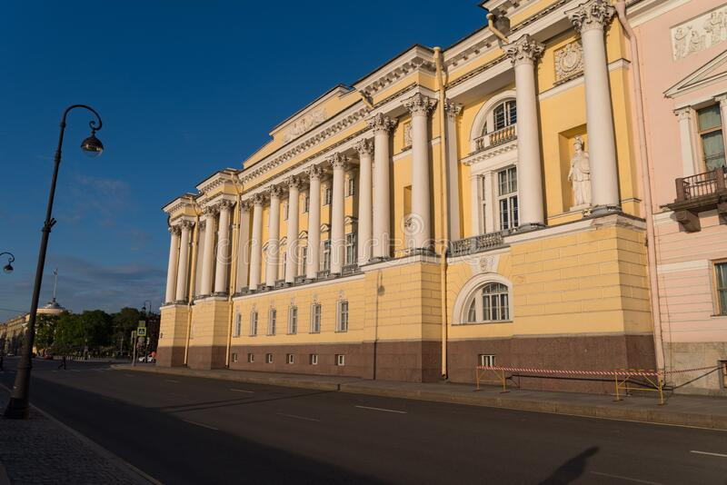 Building of Constitutional Court of the Russian Federation and the Presidential Library. Admiralty embankment of Saint Petersburg.  stock photos