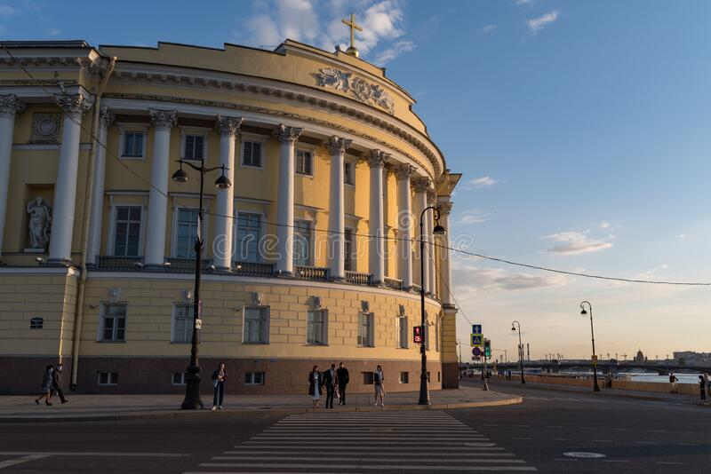 Building of Constitutional Court of the Russian Federation and the Presidential Library. Admiralty embankment of Saint Petersburg. Saint Petersburg, Russia stock photography