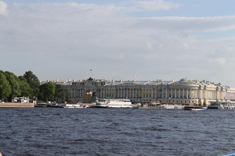 The building of the constitutional court of the Russian Federation in Saint-Petersburg. Very beautiful view from the Neva river to the building of the royalty free stock photo