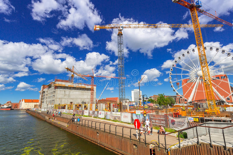 Building constraction at Motlawa river in Gdansk. GDANSK, POLAND - JULY 13, 2017: Building constraction at Motlawa river in Gdansk, Poland. Gdansk is the royalty free stock photos