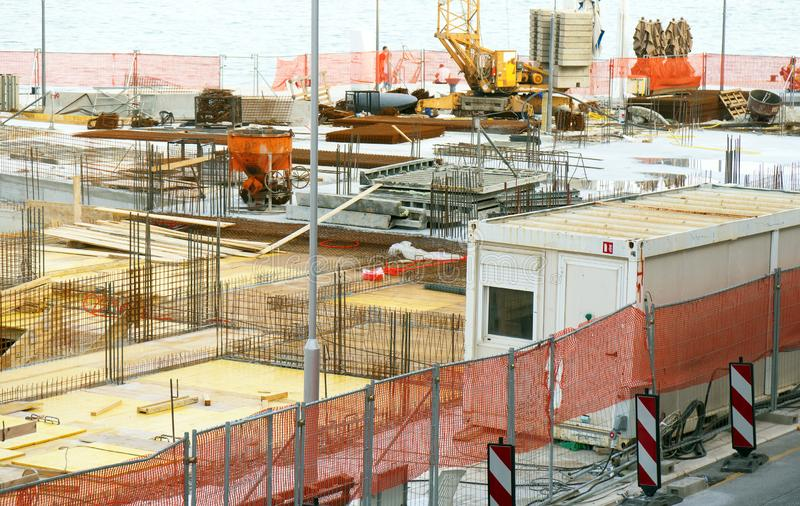 Building construction. Scaffolding on the construction site royalty free stock photography