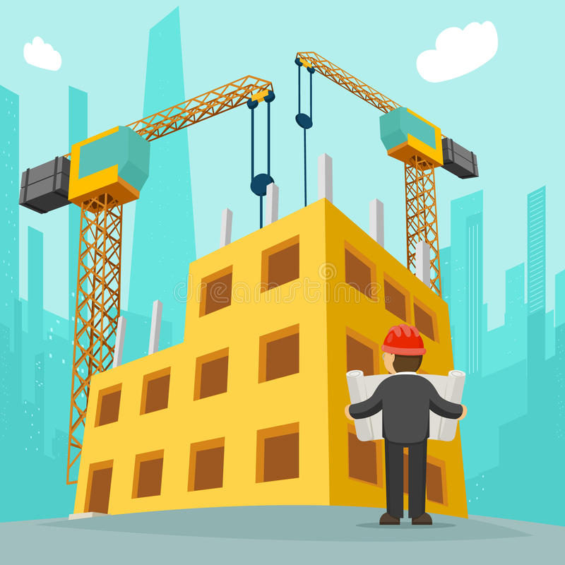 Building A New House Cartoon : Building construction cartoon vector illustration stock