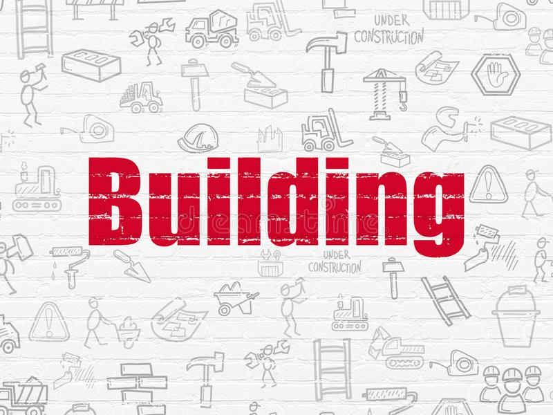 Building construction concept: Building on wall background ilustración del vector