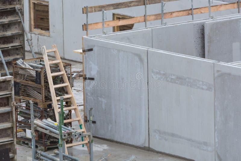Building construction with concrete walls stock image for Precast concrete basement walls cost