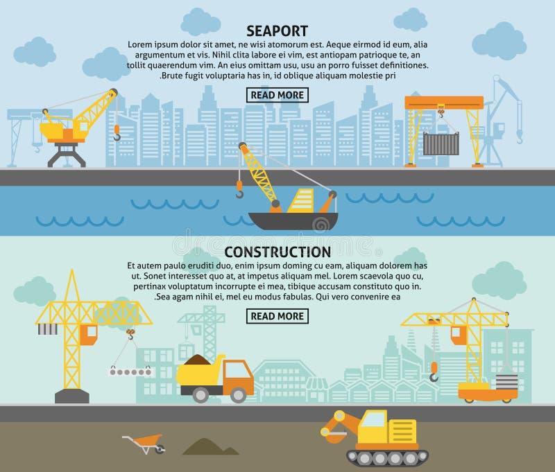 Building construction crane flat banners set royalty free illustration
