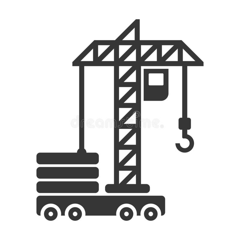 Building Construction Crane Icon on White Background. Vector royalty free illustration