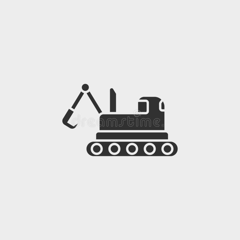 Building, construction, excavator, icon, flat illustration isolated vector sign symbol - construction tools icon vector black -. Vector on white background stock illustration