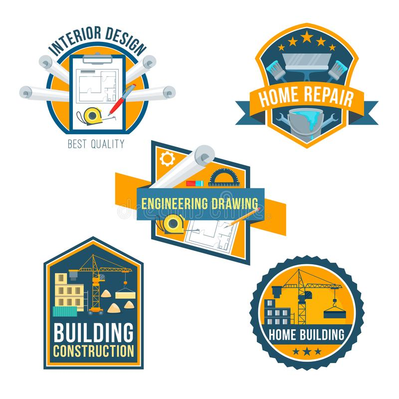 Construction, home repair and interior icons vector illustration