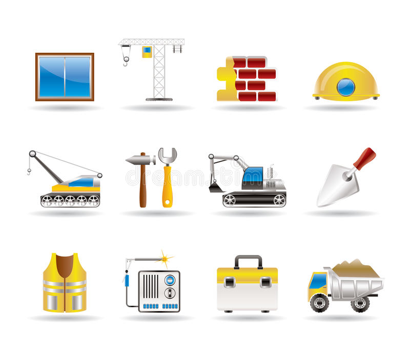 Building and construction icons 1 vector illustration