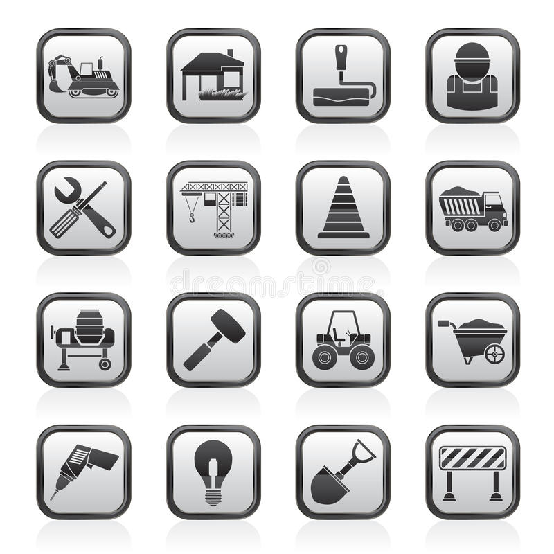 Building and construction icons. Vector icon set vector illustration