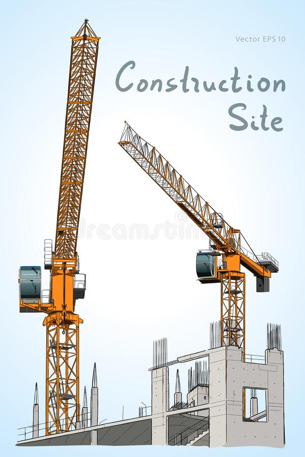 Sketch. Construction site. City. Vector hand draw. Building construction Illustration. Construction site and tower cranes sketch royalty free illustration