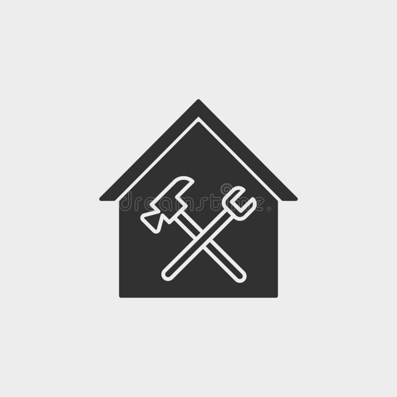 Building, construction, industry, maintenance, icon, flat illustration isolated vector sign symbol - construction tools icon. Vector black - Vector on white vector illustration