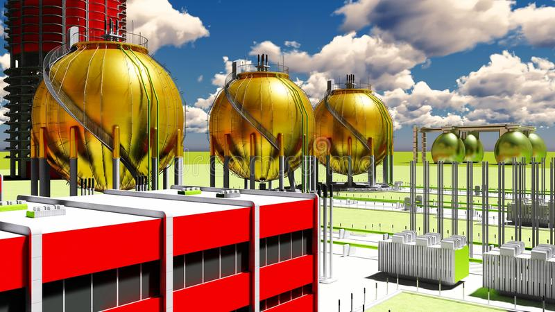 Building construction of nuclear plant 3d rendering stock photo