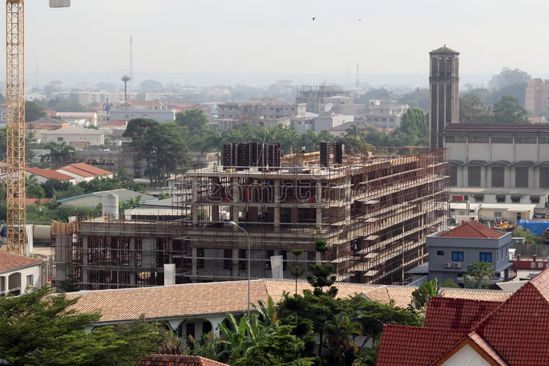Building construction in Pointe-Noire. A building under constriction in Pointe-Noire, Congo Republic, february 2015 stock photos