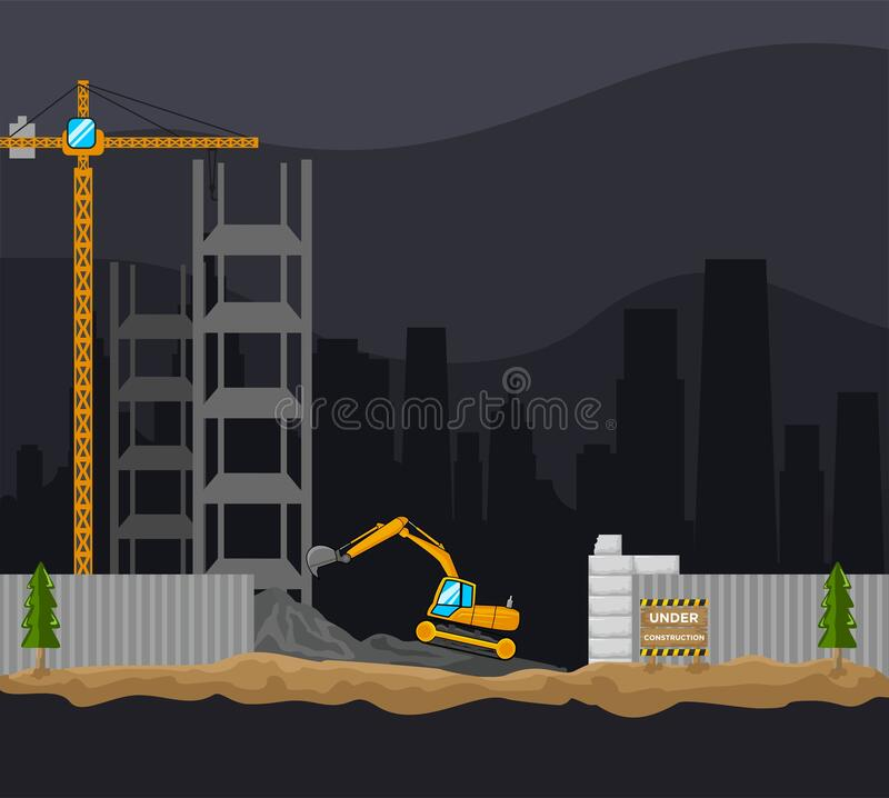 Free Building Construction Process Excavator And Crane Free Vector Stock Image - 169039461
