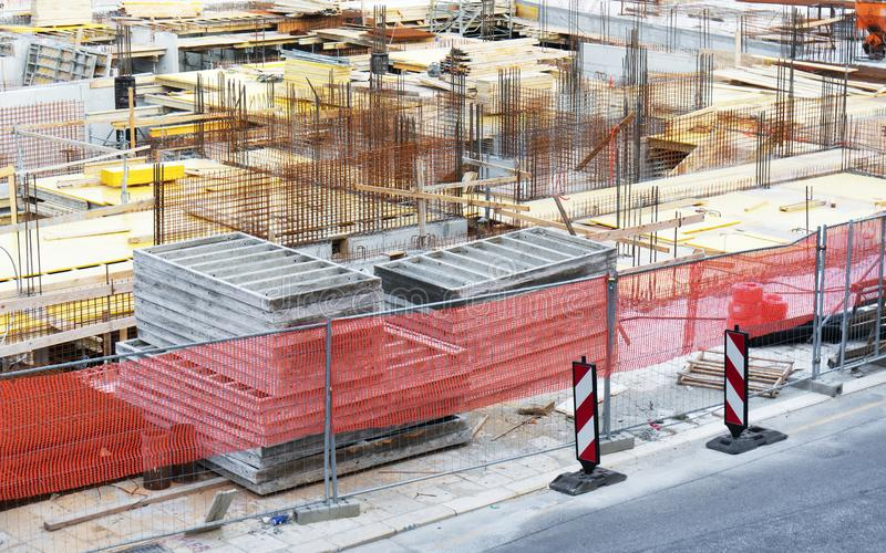 Building construction. Scaffolding on the construction site royalty free stock image