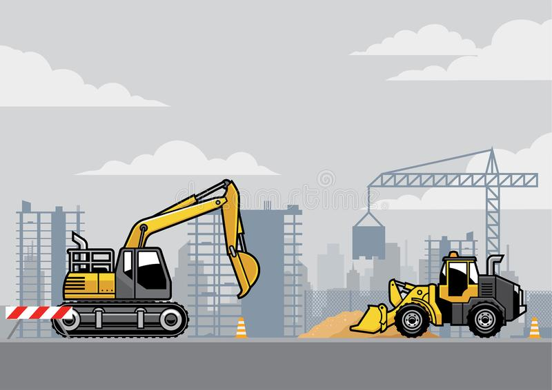 Building construction site. Vector of building construction site with bulldozer and excavator royalty free illustration