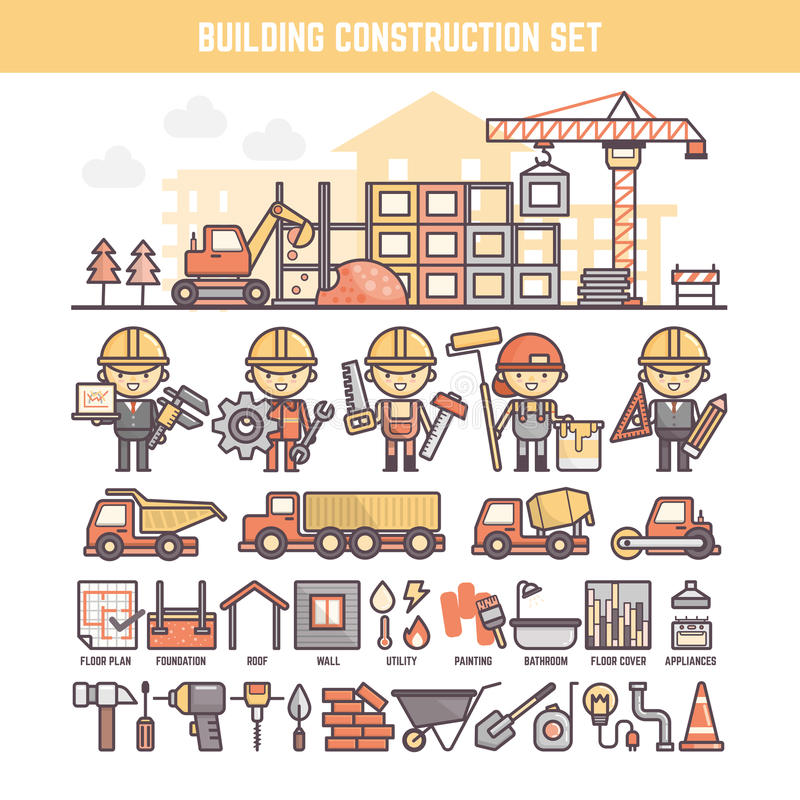 Building and construction site elements for infographics. Including character tool and process icons royalty free illustration