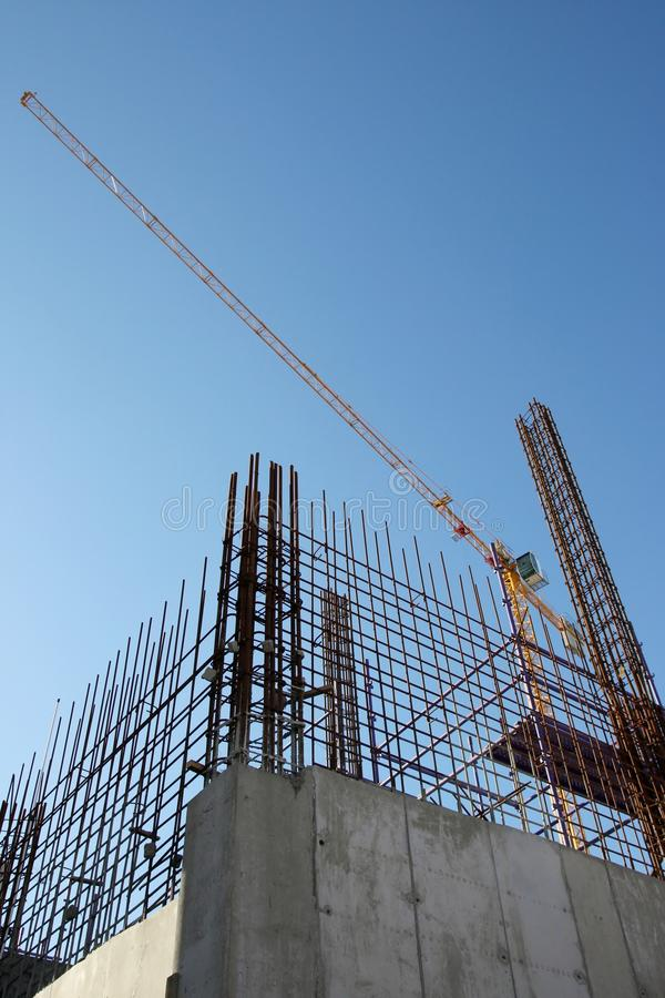 Building Construction Steel And Concrete Stock Image - Image of blue ...