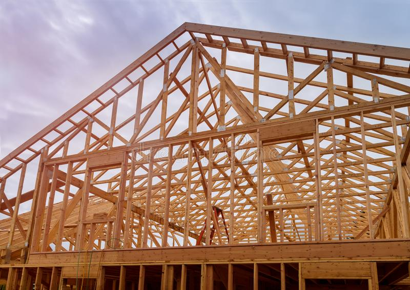Building construction, wood framing new home under construction roof being built royalty free stock images