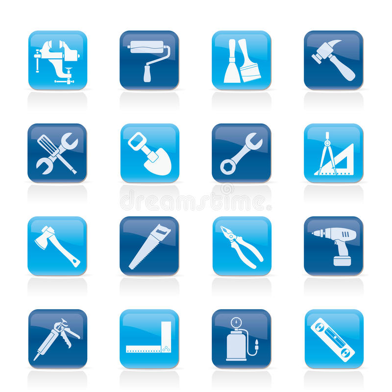 Building and Construction work tool icons. Vector icon set stock illustration
