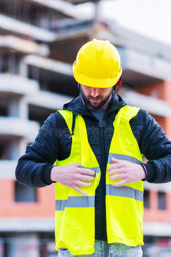Building construction worker engineer stock image