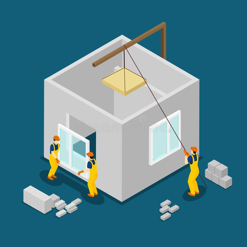 Building Construction Workers Isometric Banner. Concrete building block construction process isometric banner with windows and panels installation abstract royalty free illustration