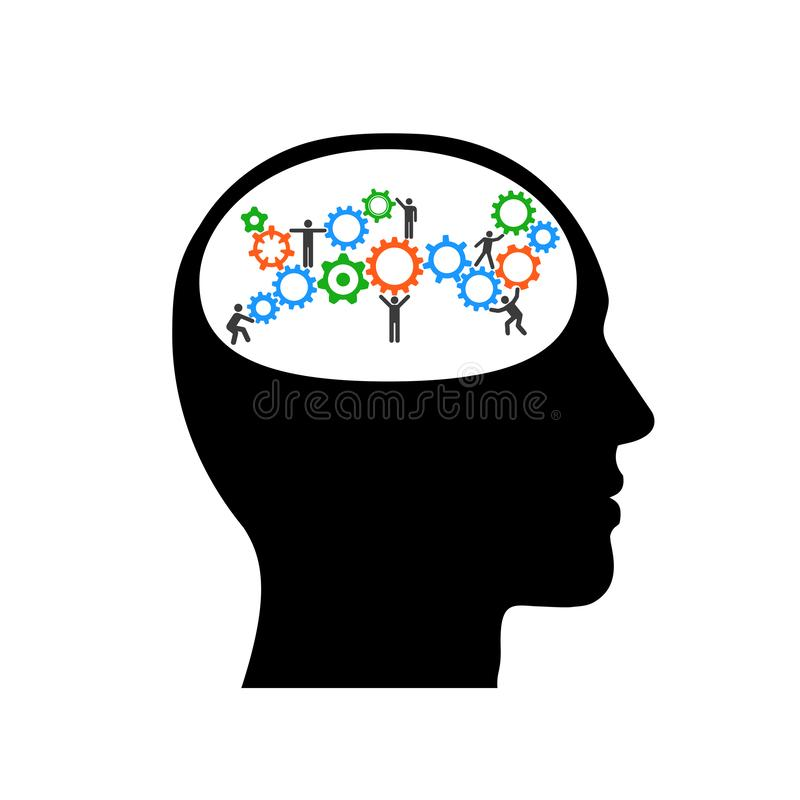 Building construction with workers in silhouette of head. Profile head thinking illustration with gears inside – stock vector royalty free illustration