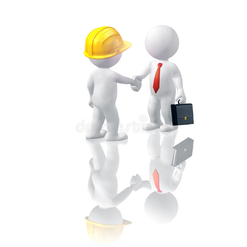 Building contract. Two man conclude contract, handshake royalty free illustration