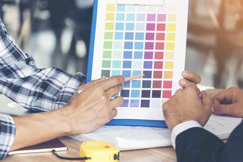Building contractor showing color theme interior design. Engineering royalty free stock photography