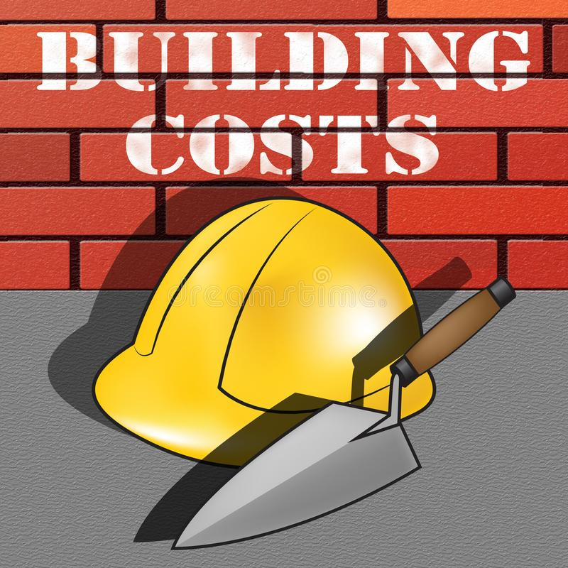 Building Costs Represents House Construction 3d Illustration stock illustration