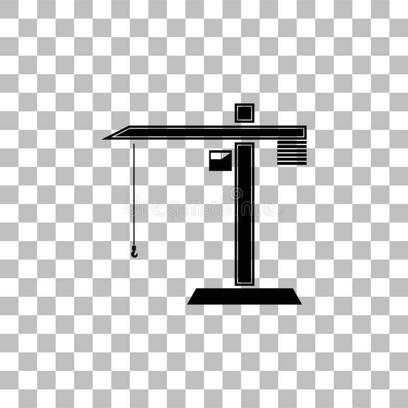 Building crane icon flat. Building crane. Black flat icon on a transparent background. Pictogram for your project royalty free illustration