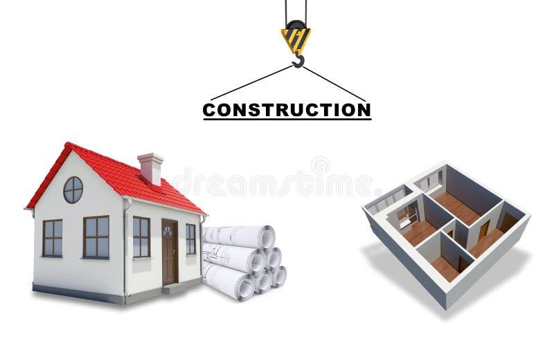 Building crane with floor model stock illustration