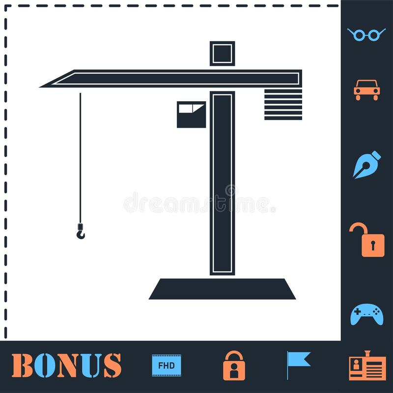 Building crane icon flat. Building crane. Perfect icon with bonus simple icons royalty free illustration