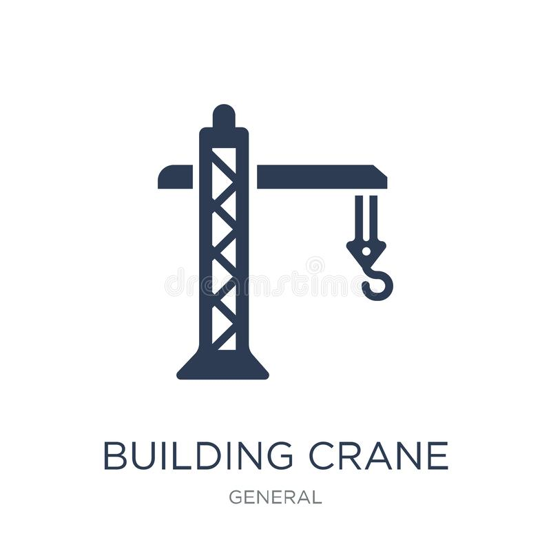 Building crane icon. Trendy flat vector building crane icon on w. Hite background from general collection, vector illustration can be use for web and mobile stock illustration