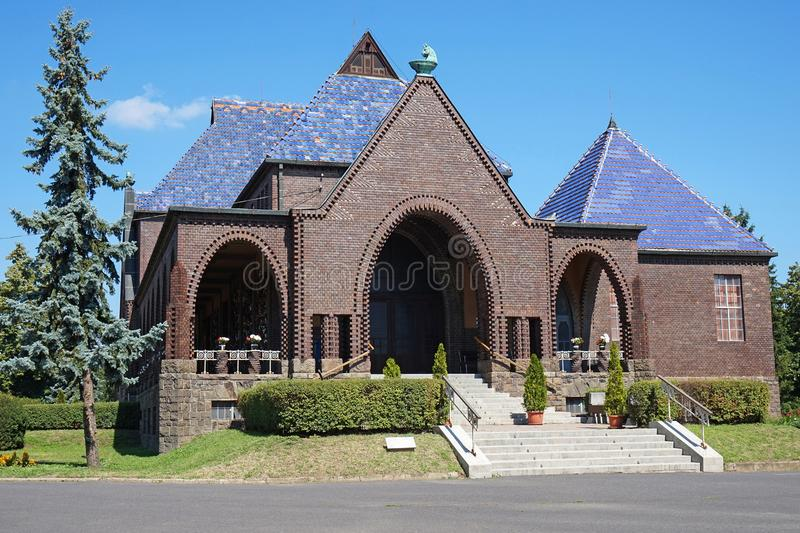 Building of the crematory and funeral home. In summer royalty free stock photography