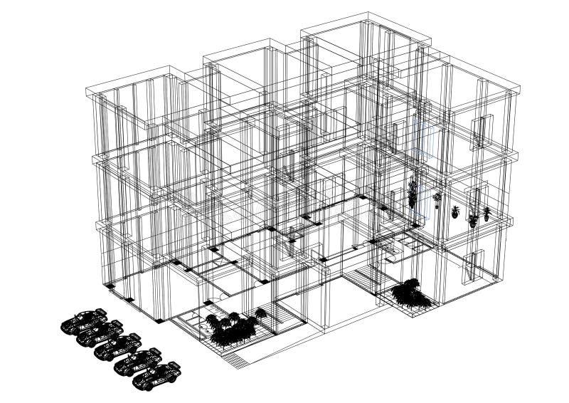 Building 3D blueprint - isolated vector illustration