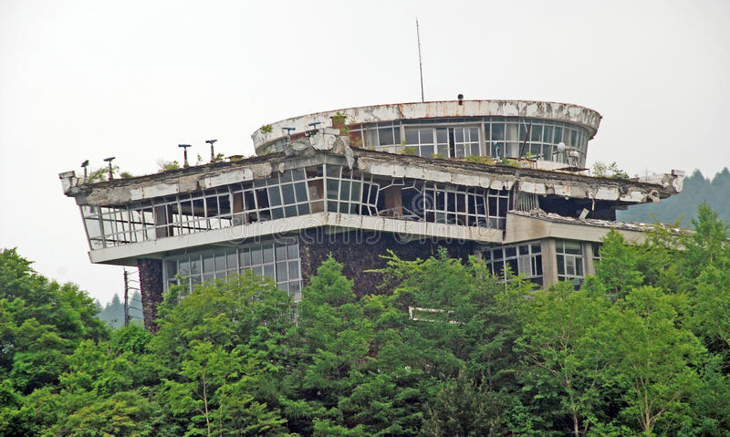 Building damaged by volcanic eruption. This former observatory was damaged extensively, by the 2004 eruption of Mt Asama in central Japan royalty free stock photography