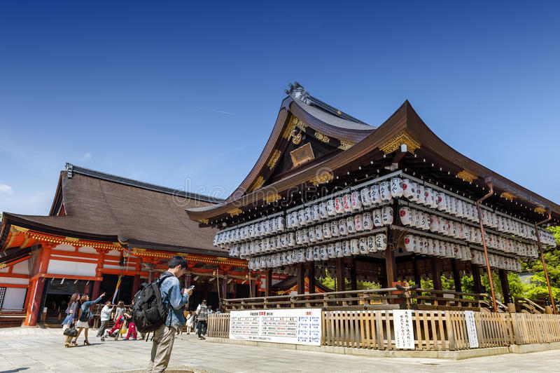 Building of a dance stage with hundreds of lanterns at Yasaka or Gion Shrine stock photo