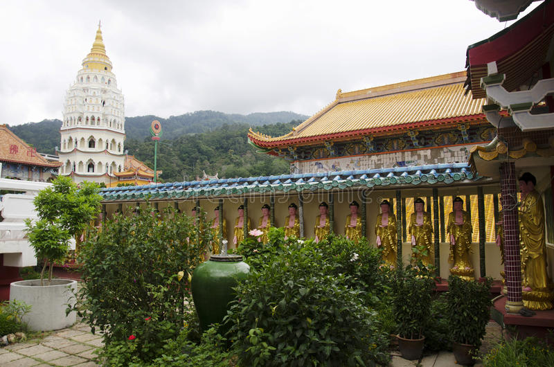 Building and decoration of Kek Lok Si Chinese and Buddhist temple. For people visit and pray in Georgetown in Penang, Malaysia stock image