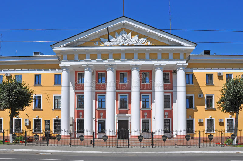 The building of the Department of Internal Affairs with columns in Vladimir city. The building of the Department of Internal Affairs with columns in historical royalty free stock photography