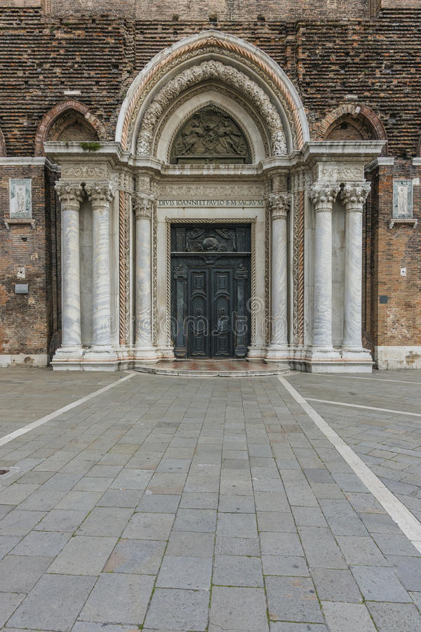 Building details. Entrance gate to the Basilica in Venice , Italy . Europe royalty free stock image