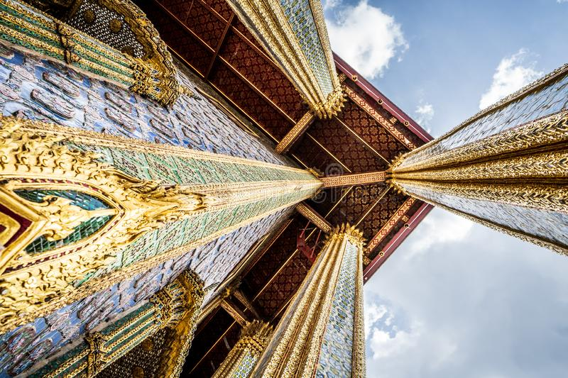 Building details in Wat Phra Kaew bangkok. Ancient, architecture, art, craft, asia, asian, beautiful, buddhist, temple, buildings, buddha, buddhism, culture royalty free stock image