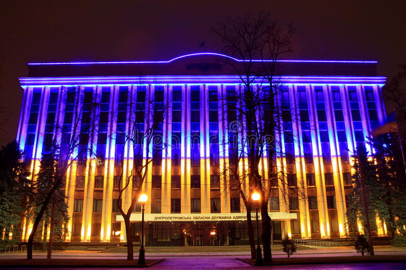 The building Dnepropetrovsk Regional Administration, decorated with LED backlighting as a yellow-blue Ukrainian national flag stock photography