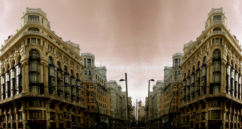 Building double in Madrid stock photography