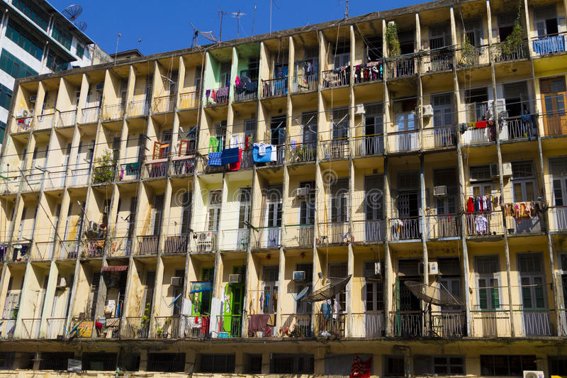 Building in downtown Yangon, Myanmar (Burma) stock photography