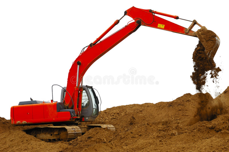 Building dredge. Working building dredge with white background stock photo