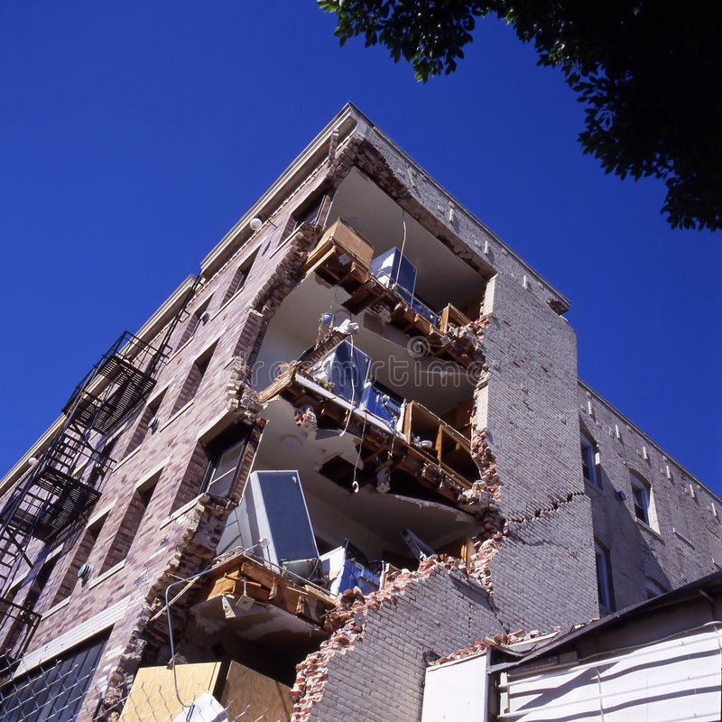 Building after earthquake royalty free stock images