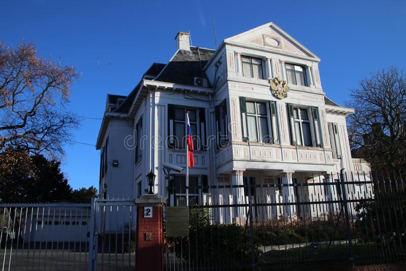 Building of the embassy of Russia in the city of The Hague in the Netherlands. royalty free stock images