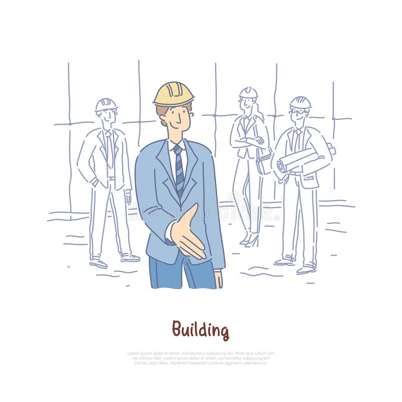 Building engineer, architects team, crew coworking, business partners, businessman giving hand for handshaking banner vector illustration